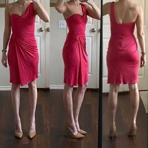 Pink silk one shoulder draped midi dress